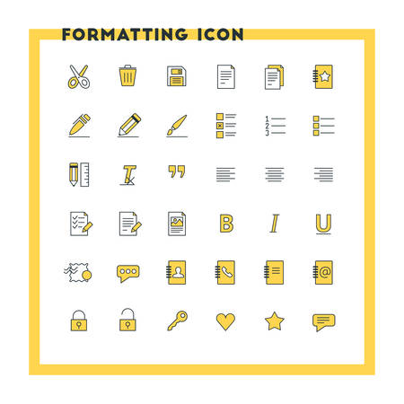 formatting: Text formatting flat design icon set. Document, pen, alignment, security, style, save. Vector icons. Yellow and black colors Illustration