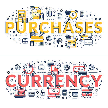 headings: Purchases and Currency headings, titles. Horizontal colored flat vector illustration.