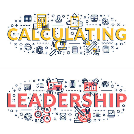 headings: Calculating and Leadership headings, titles. Horizontal colored flat vector illustration. Illustration