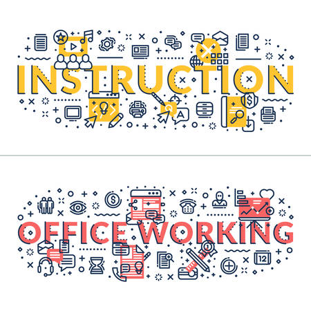 headings: Instruction and Office Working headings, titles. Horizontal colored flat vector illustration.