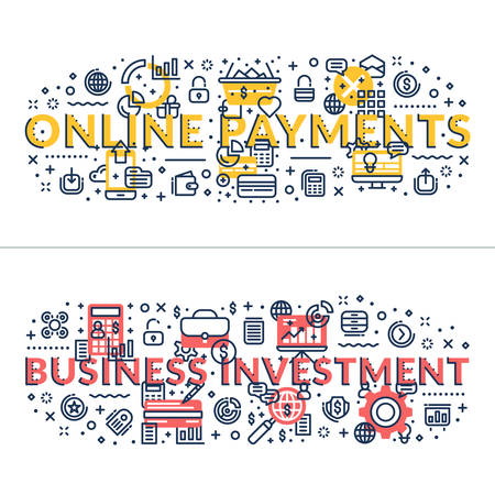 headings: Online Payments and Business Investment. headings, titles. Horizontal colored flat vector illustration. Illustration