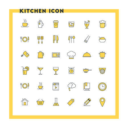 japanese dessert: Food and kitchen flat design icon set. Food, beverages, cooking, kitchenware, cutlery. Yellow and black colors