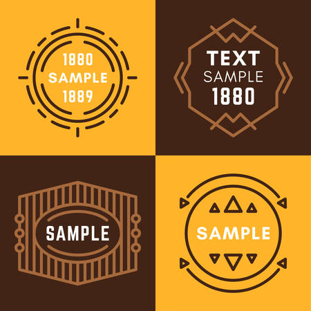 established: Set of Four Line Art Decorative Geometric Vector Frames and Borders with Brown and Yellow Backgrounds. Vector Ornaments, Vector Decoration, Line Ornament, Vector , Vector Labels