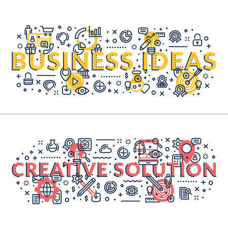 headings: Business Ideas and Creative Solution headings, titles. Horizontal colored flat vector illustration. Illustration