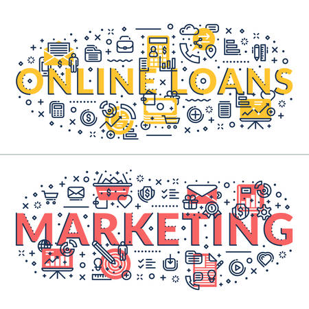 headings: Online Loans and Marketing headings, titles. Horizontal colored flat vector illustration. Illustration