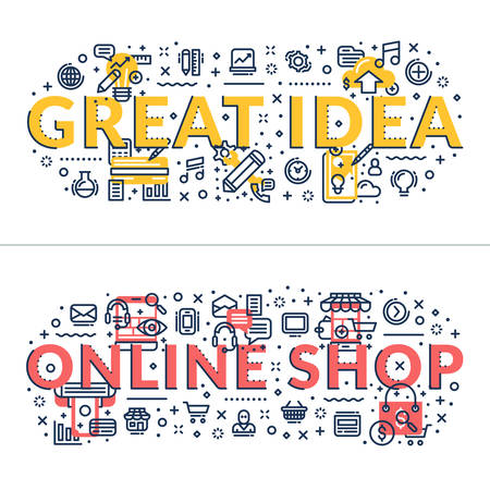 headings: Great Idea and Online Shop headings, titles. Horizontal colored flat vector illustration.