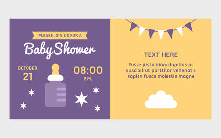 invite congratulate: Two side baby shower invitation template with milk bottle. Colored flat vector illustration.