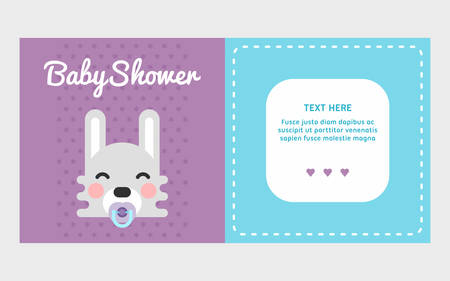 Two side baby shower invitation template with rabbit. Colored flat vector illustration with a place for text.