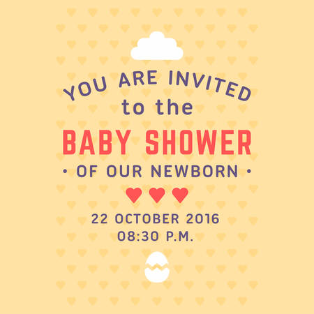 maternity leave: Invitation for baby shower template. Cloud, eggshell, hearts, beige background. Colored flat vector illustration.