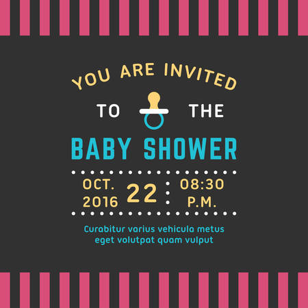 maternity leave: Invitation for baby shower template. Colored flat vector illustration. Illustration