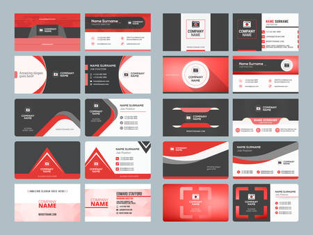 Business card templates. Stationery design vector set. Red and black colors. Flat style vector illustration