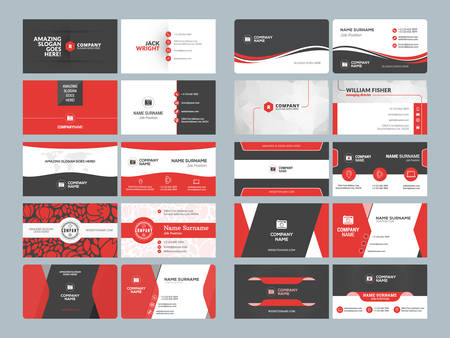 Business card templates. Stationery design vector set. Red and black colors. Flat style vector illustration Фото со стока - 61189915