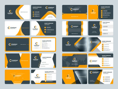 brand position: Business card templates. Stationery design vector set. Orange and black colors. Flat style vector illustration