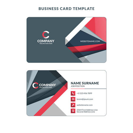 Creative Business Card Template with Abstract Background. Vector Illustration. Stationery Design