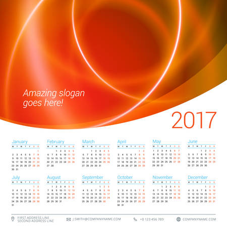 yearly: Calendar for 2017 year. Vector design stationery template. Week starts Monday. Flat style color vector illustration. Yearly calendar template