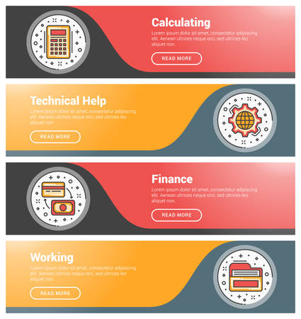 calculating: Flat design concept. Set of flat line business website banner templates. Template for wesite headers. Vector illustration. Modern thin line icons in circle. Calculating, Technical Help, Finance, Working