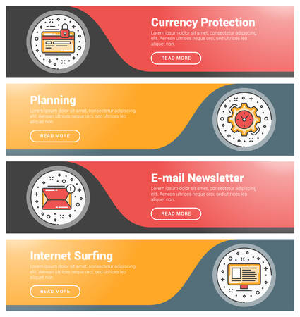 internet surfing: Flat design concept. Set of flat line business website banner templates. Template for wesite headers. Vector illustration. Modern thin line icons in circle. Currency Protection, Planning, E-mail Newsletter, Internet Surfing