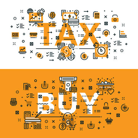 Tax and Buy heading, title, web banner. Horizontal colored in white and yellow flat vector illustration. Illustration
