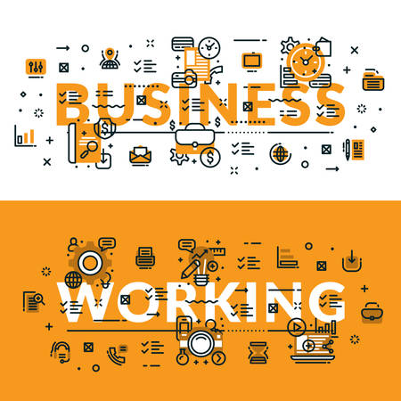 heading: Business and Working heading, title, web banner. Horizontal colored in white and yellow flat vector illustration.