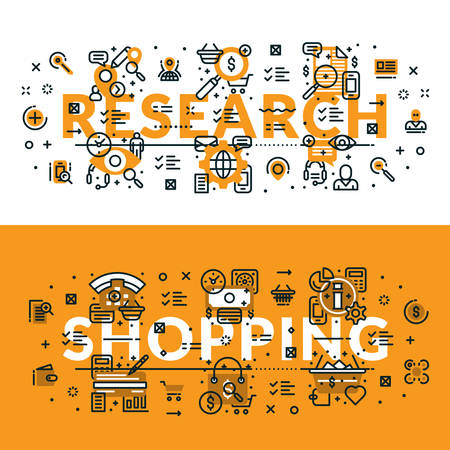 heading: Research and Shopping heading, title, web banner. Horizontal colored in white and yellow flat vector illustration.