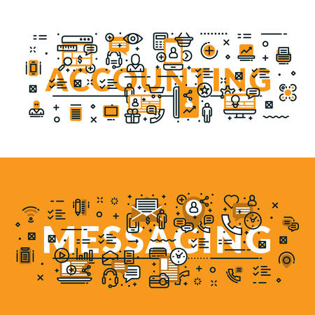 Accounting and Messaging heading, title, web banner. Horizontal colored in white and yellow flat vector illustration.