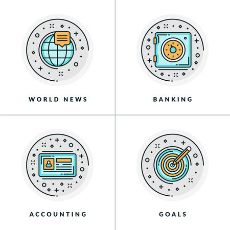 world news: Business and Working. Set of four icons on world news, banking, accounting, goals. Colored in gray, orange and blue flat vector illustrations. Illustration