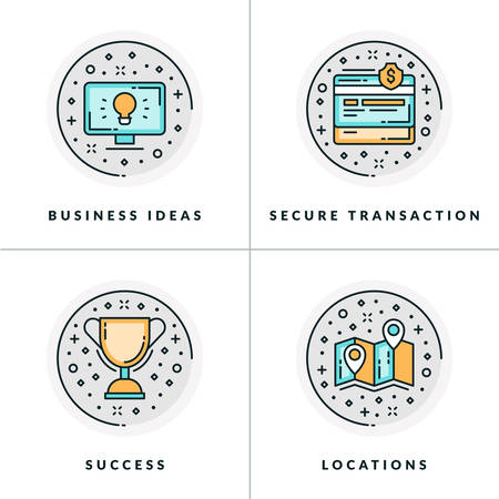 locations: Business and Working. Set of four icons on business ideas, secure transactions, success, locations. Colored in gray, orange and blue flat vector illustrations.