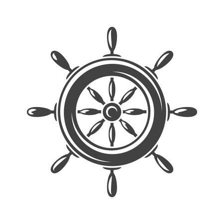 Nautical collection. Ship steering wheel. Black icon, element, flat vector illustration isolated on white background.
