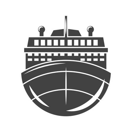 water carrier: Nautical collection. Ship, cruise liner front view. Black icon, logo element, flat vector illustration isolated on white background.