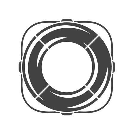 safety buoy: Nautical collection. Safety ring, life belt, buoy ring. Black icon, element, flat vector illustration isolated on white background.