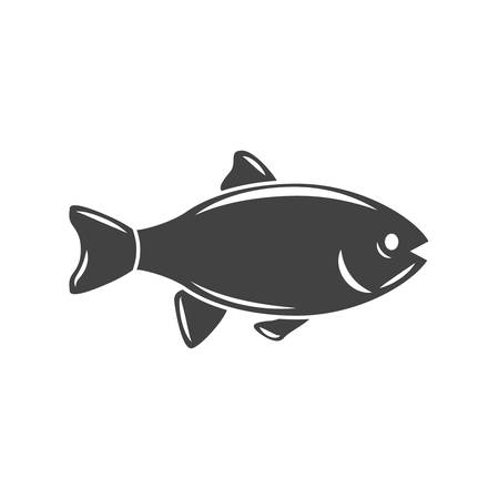 big fish: Nautical collection. Big fish. Black icon, element, flat vector illustration isolated on white background.