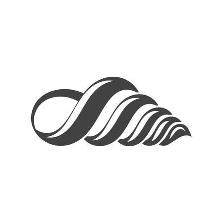 communis: Nautical collection. Seashell turritella communis, horn type. Black icon, element, flat vector illustration isolated on white background. Illustration