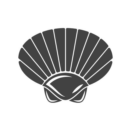 cockleshell: Nautical collection. Seashell outline. Black icon,  element, flat vector illustration isolated on white background.