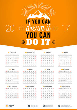 Wall Calendar Poster for 2017 Year. Vector Design Print Template with Typographic Motivational Quote on Yellow Background. If you can dream it you can do it Illustration