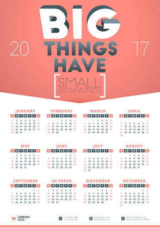 beginnings: Wall Calendar Poster for 2017 Year. Vector Design Print Template with Typographic Motivational Quote on Yellow Background. Big things have small beginnings