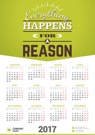 reason: Wall Calendar Poster for 2017 Year. Vector Design Print Template with Typographic Motivational Quote on Yellow Background. Everything happens for a reason