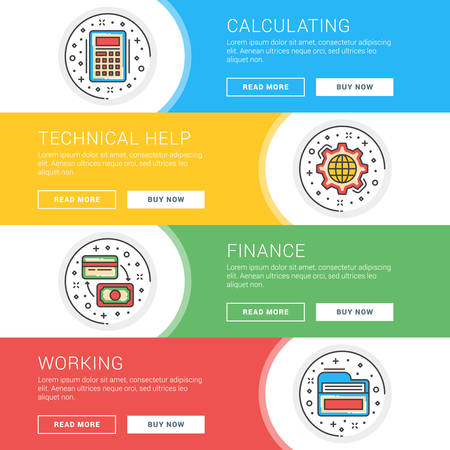 calculating: Set of flat line business website banner templates. Template for wesite headers. Vector illustration. Modern thin line icons in circle. Calculating, Technical Help, Finance, Working