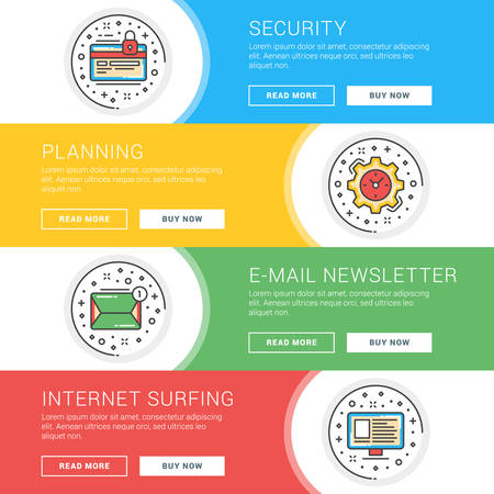 internet surfing: Set of flat line business website banner templates. Template for wesite headers. Vector illustration. Modern thin line icons in circle. Currency Protection, Planning, E-mail Newsletter, Internet Surfing Illustration