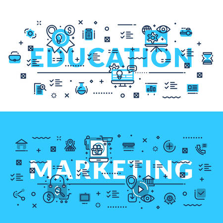 headings: Education and Marketing headings, titles, web banner. Horizontal colored in white and blue flat vector illustration. Illustration