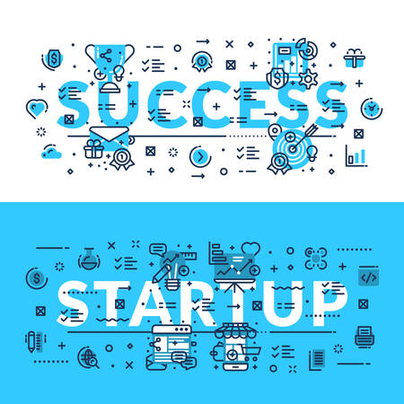 career entry: Success and StartUp. Modern style heading, title, web banner. Horizontal colored in white and blue flat vector illustration.