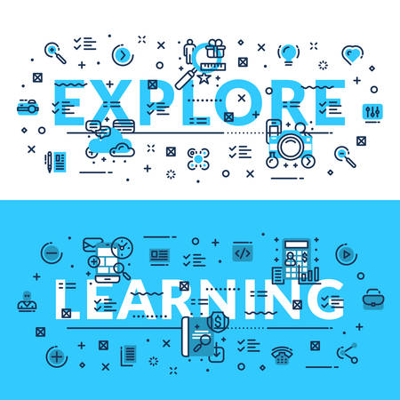 technical university: Explore and Learning heading, title, web banner. Horizontal colored in white and blue flat vector illustration.