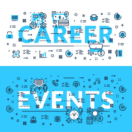 importance: Career and Events modern heading, title, web banner. Horizontal colored in white and blue flat vector illustration.