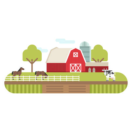 farmhouses: Vector Flat Style Illustration of Farm Landscape with Farmhouses and Fields on Light Background