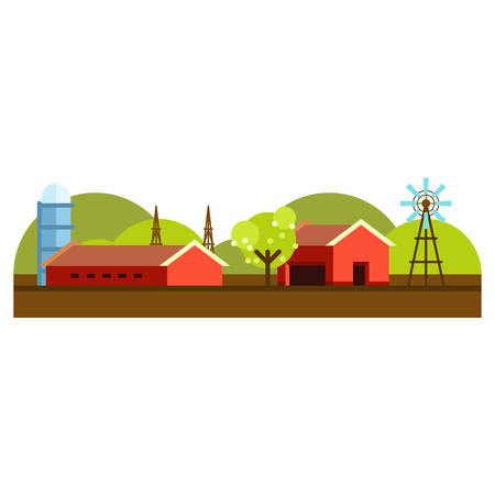 Vector Flat Style Illustration of Farm Landscape with Farmhouses and Fields on Light Background