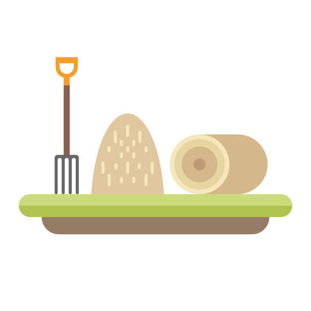 Pitchfork and hay. Farming concept. Flat style vector illustration.