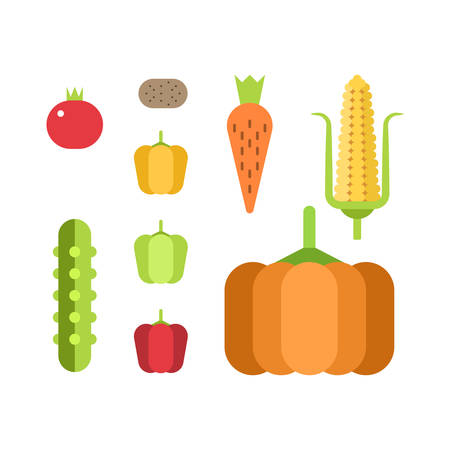 Set of fresh vegetables. Flat style vector illustration Illustration