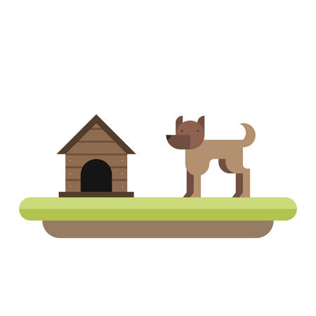 kennel: Dog standing in front of its kennel. Dog house. Pet. Flat illustration
