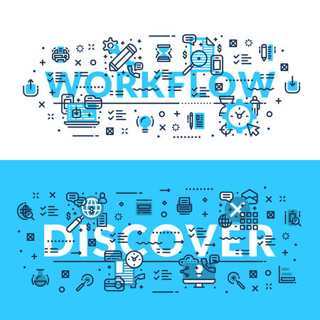 discover: Words Workflow and Discover. Modern heading, title, web banner. Horizontal colored in white and blue flat vector illustration.