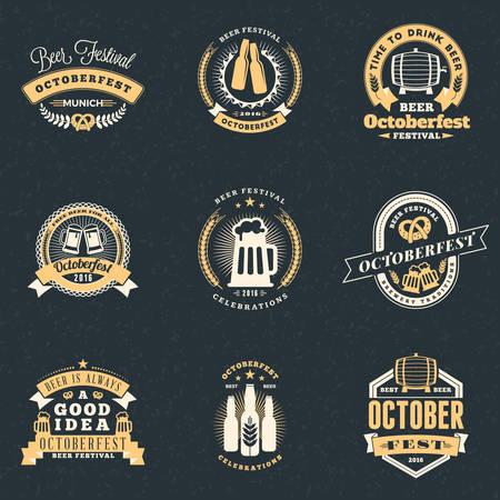 celebraciones Festival de la cerveza Octoberfest. Conjunto de insignias de época retro de la cerveza, etiquetas, emblemas. Elementos de diseño vectorial