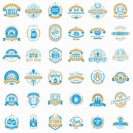 Beer Festival Octoberfest celebrations. Collection of retro vintage beer badges, labels, emblems. Vector design elements
